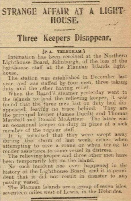 Газетная заметка об исчезновении смотрителей маяка