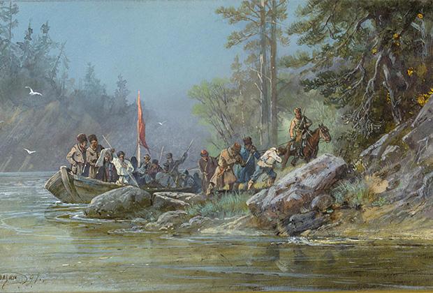 Николай Каразин «Сибирские казаки у проведывания новых землиц», 1891 год