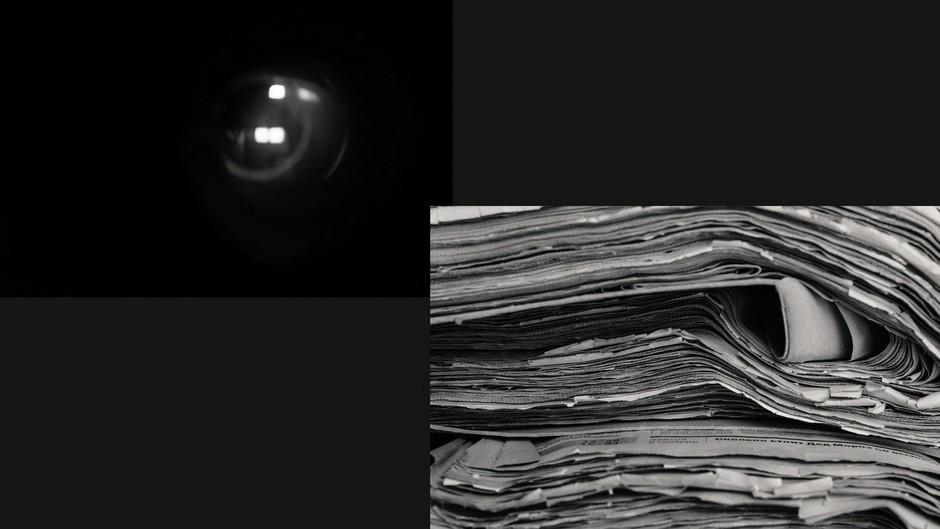 Слева: дверной глазок. Поволжский маньяк представлялся сотрудником ЖЭКа <br><br> Справа: газетные публикации о серийных убийцах