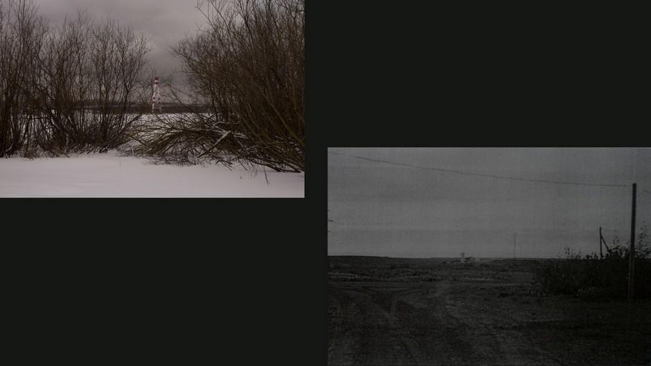Слева: вид на Октябрьский мост  <br><br> Справа: поселок Лесное