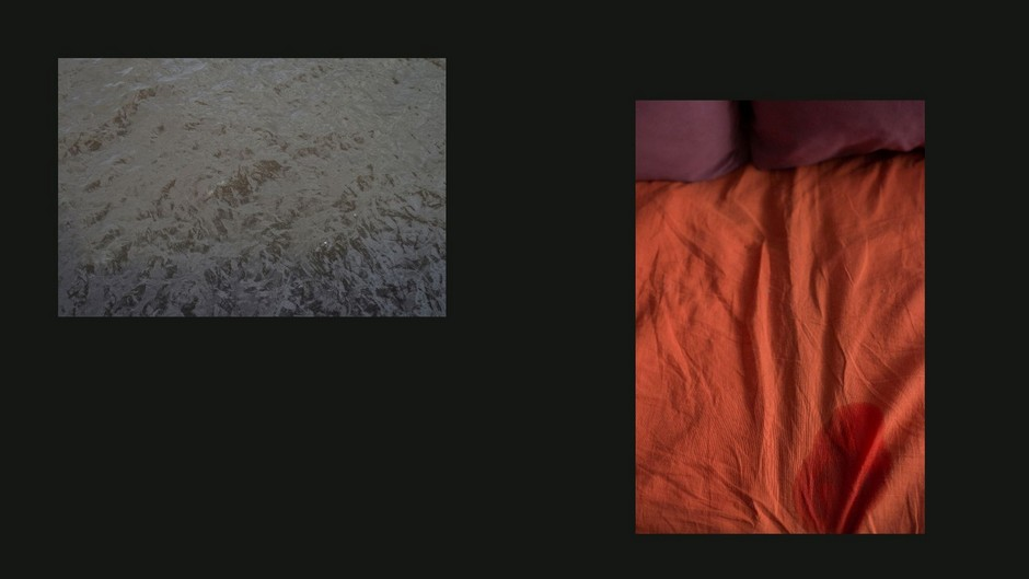Слева: Место убийства <br><br> Справа: Простыня с пятном