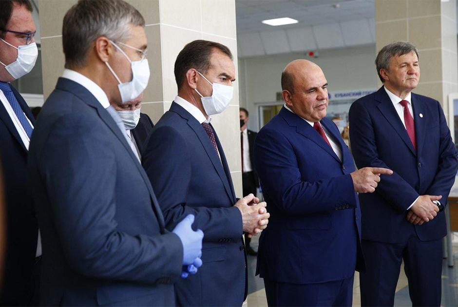 С премьер-министром Михаилом Мишустиным побывали в Кубанском государственном университете. Познакомились с проектами молодых ученых, пообщались со студентами. Позже провели двустороннюю встречу.