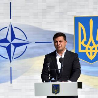 Владимир Зеленский на открытии совместных военных учений Украины и стран НАТО Rapid Trident-2020 во Львовской области