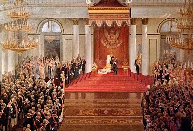 Картина В. Полякова «Тронная речь Николая II во время открытия I Государственной Думы в Зимнем дворце»