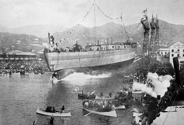 Спуск на воду линкора Giulio Cesare