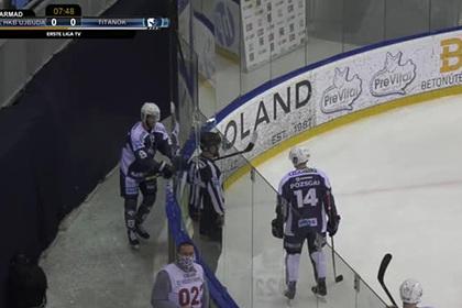 Хоккеист разбил стекло и вылетел за пределы катка во время празднования гола