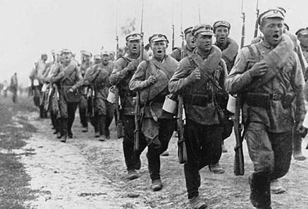 Стрелковое формирование РККА на марше, 1920 год