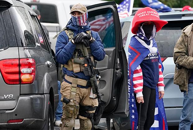 Сторонники Трампа на митинге 7 ноября