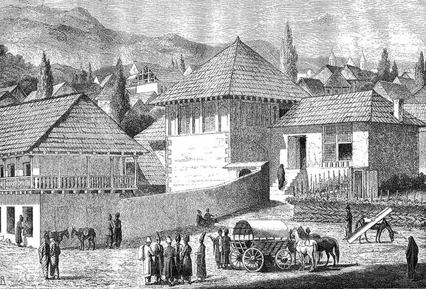 Вид города Шуши, рисунок Василия Верещагина, 1865 год
