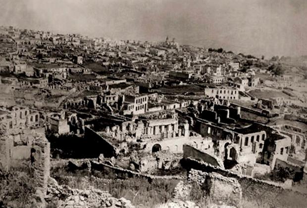 Руины армянского квартала Шуши после резни 1920 года