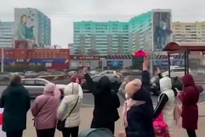 Акция в память о погибшем задержанном в Минске попала на видео