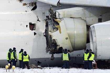 Работы на месте аварийной посадки самолета Ан-124 в аэропорту Толмачево в Новосибирске