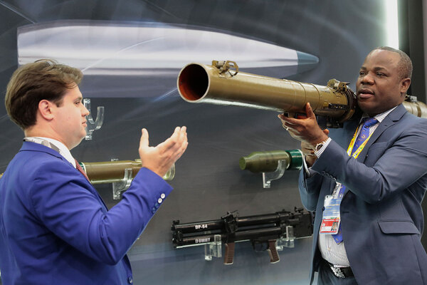 A visitor examines a Russian rocket-propelled grenade launcher RPG-29  during the Russia-Africa Economic Forum Exhibition on the sidelines of the Russia-Africa Summit and Economic Forum in the Black sea resort of Sochi, Russia, October 24, 2019. Sergei Chirikov/Pool via REUTERS