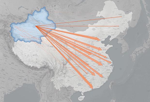 Схема перевода уйгурских рабочих из Синьцзян-Уйгурского автономного района на фабрики в другие части Китая с 2017 по 2020 год