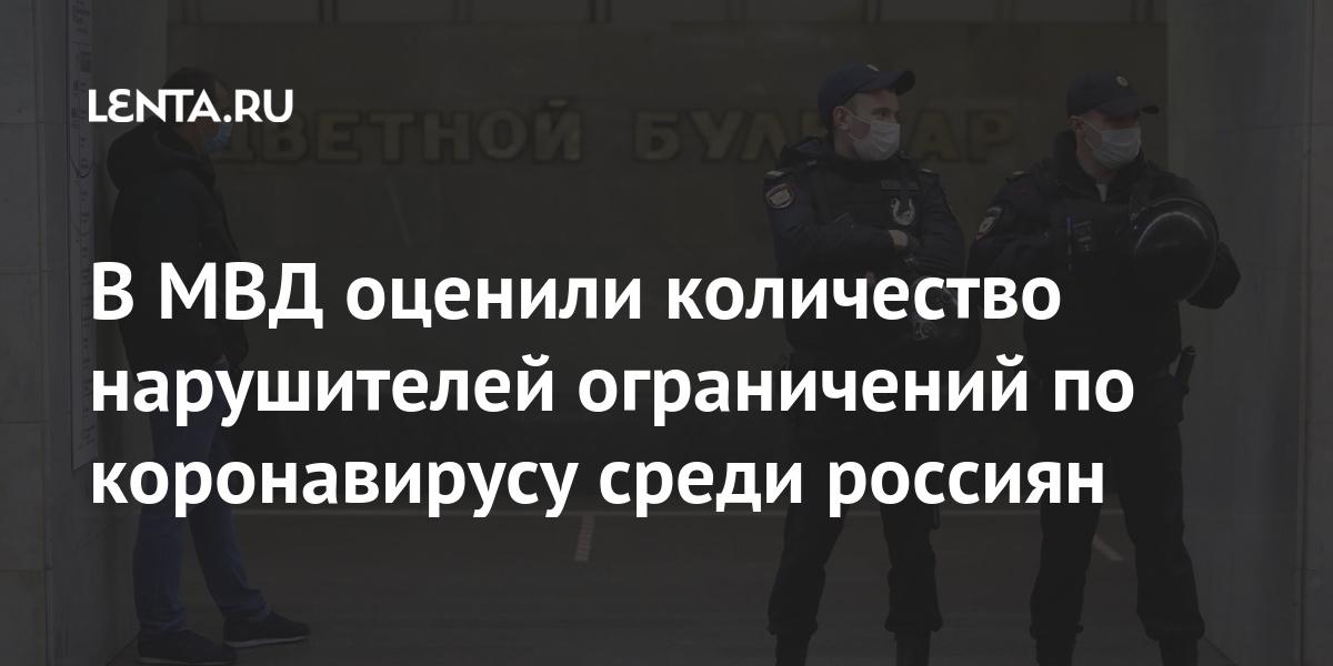 В МВД оценили количество нарушителей ограничений по коронавирусу среди россиян