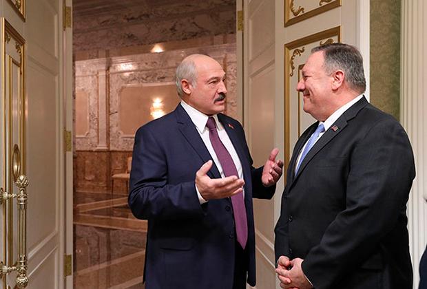 Президент Белоруссии Александр Лукашенко и Госсекретарь США Майкл Помпео, 1 февраля 2020 года