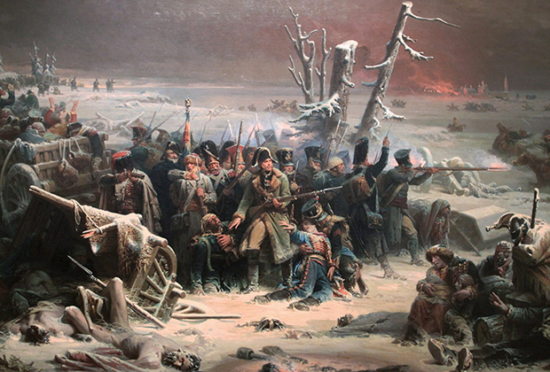 Адольф Ивон «Французские солдаты маршала Нея загнаны в лес в сражении под Красным»