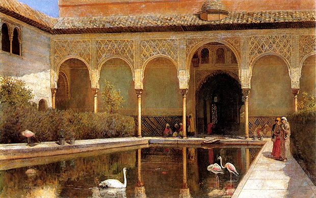 Двор Альгамбры во времена мавров с картины Эдвина Лорда Уикса, 1876 год