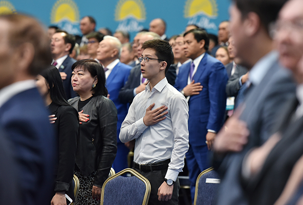Делегаты XIX внеочередного съезда партии «Нур Отан»