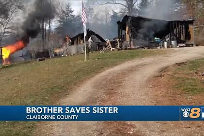 Семилетний мальчик спас двухлетнюю сестру из полыхающего дома