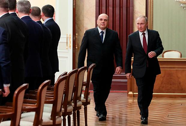 Путин и Мишустин перед началом встречи с членами правительства