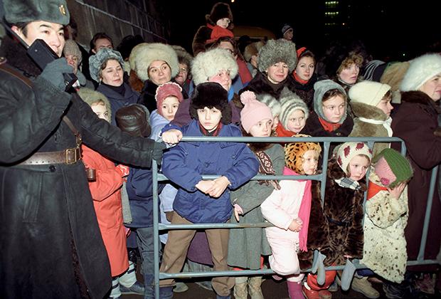Очередь на Кремлевскую елку в 1991 году