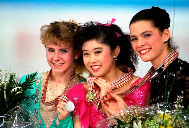Слева направо: Тоня Хардинг, Кристи Ямагучи, Нэнси Керриган