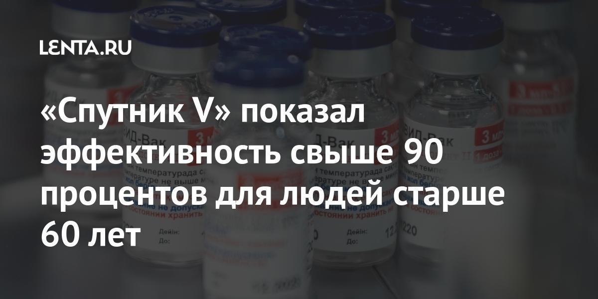 «Спутник V» показал эффективность более 90 процентов для людей старше 60 лет: Общество: Россия: Lenta.ru
