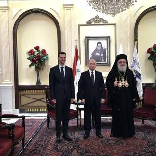 Президент Сирии Башар Асад, президент России Владимир Путин и патриарх Антиохийский и всего Востока Иоанн X