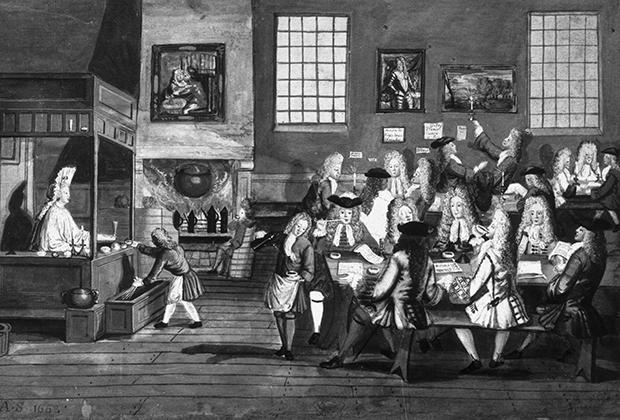 Отдых джентльменов в английской кофейне, 1668 год
