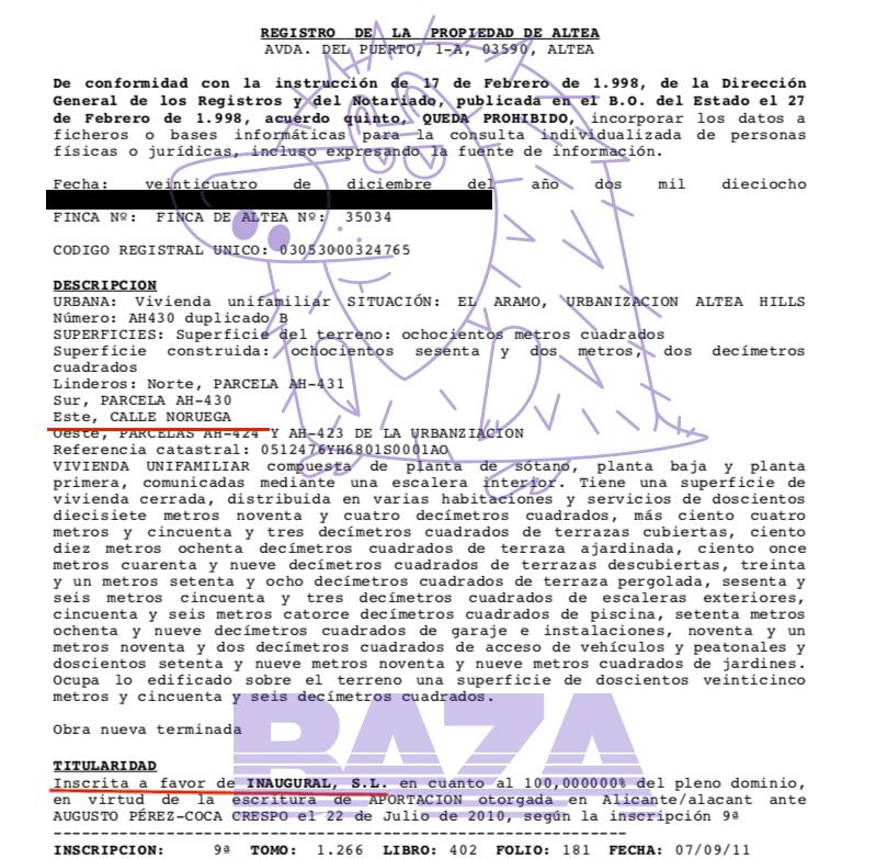 Выписки из коммерческого реестра Испании о владельцах и смене менеджмента компании Inaugural SL