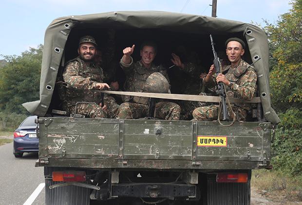 Армянские солдаты, Нагорный Карабах, 29 сентября 2020 года