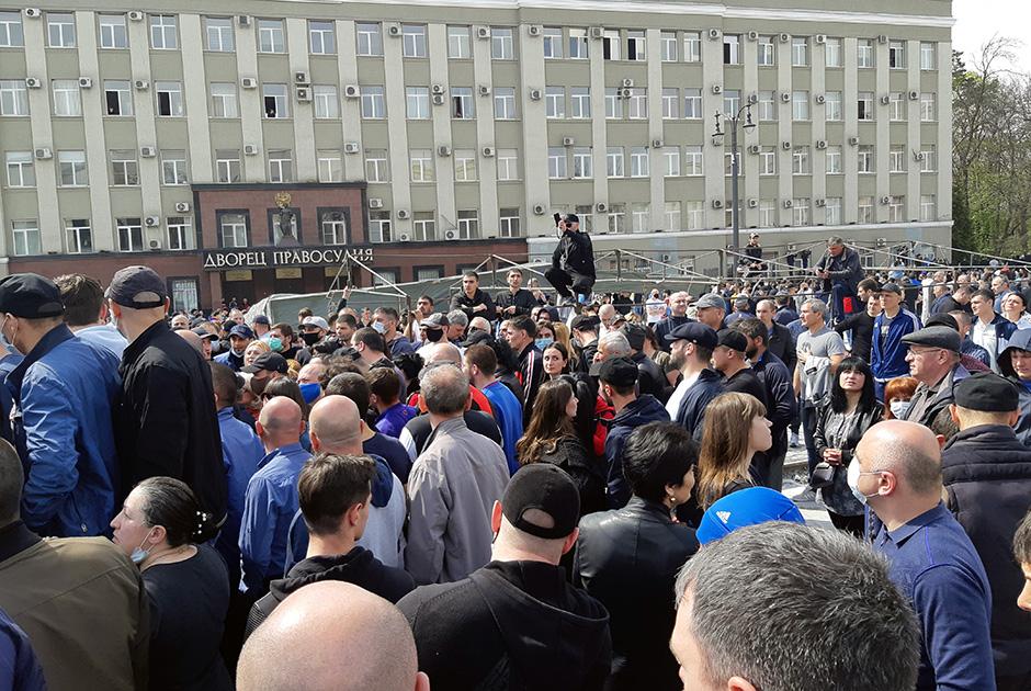 Антиковидный митинг в Северной Осетии в апреле 2020 года.