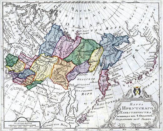 Курилы показаны как российская территория, административно входящая в Нижнекамчатский уезд Охотской области Иркутского наместничества