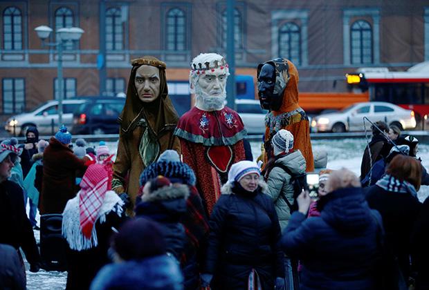 День святого Епифания в Каунасе, Литва, 6 января 2020 года