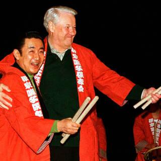 Премьер-министр Японии Рютаро Хасимото  и Борис Ельцин