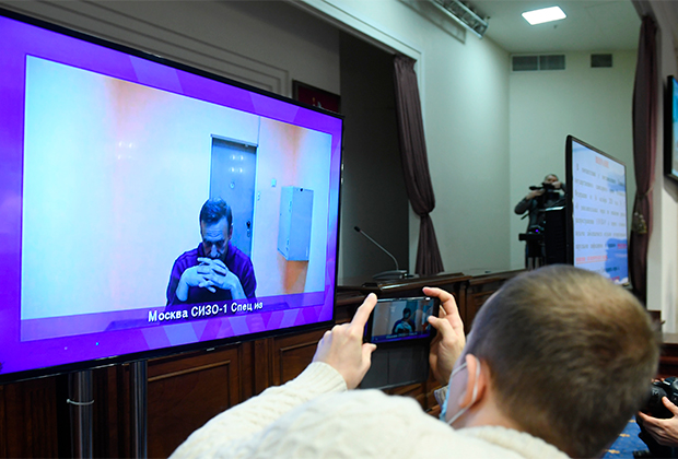 Алексей Навальный на сеансе видеосвязи из СИЗО