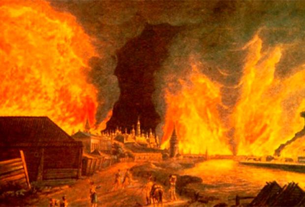 Х.И. Олендорф «Вид на Кремль во время пожара в Москве в сентябре 1812 года»