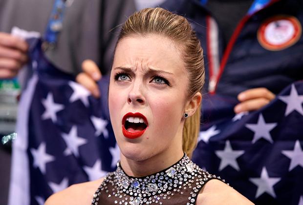 Реакция Эшли Вагнер на оценки в командном турнире Олимпиады-2014