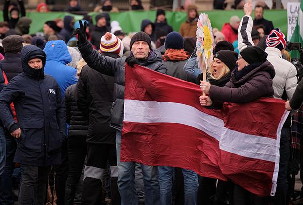 Протесты против ограничений, 12 декабря, Рига