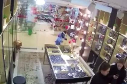 Появилось видео нападения детей-«единорогов» на ювелирный магазин в России