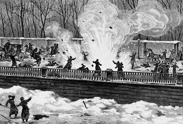 Покушение на императора Александра II на набережной Екатерининского канала в Санкт-Петербурге. Взрыв бомбы Рысакова