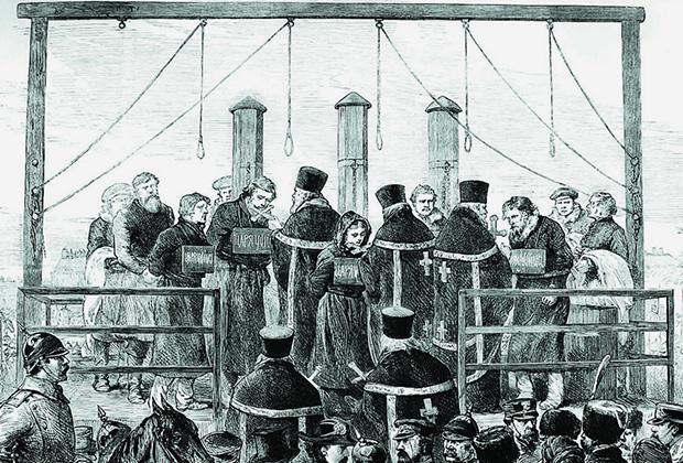 15 (3) апреля 1881 года. Казнь первомартовцев на Семеновском плацу в Санкт-Петербурге