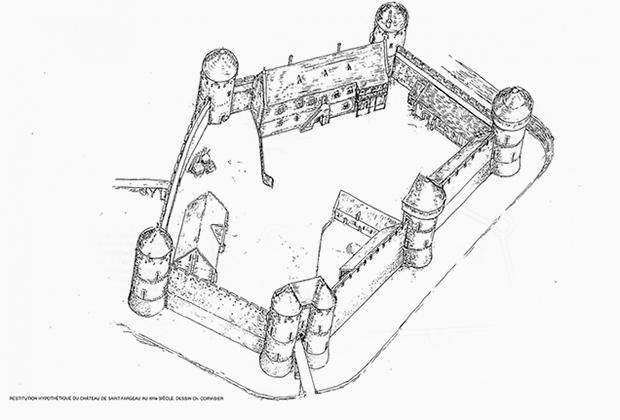 Проект замка Геделон, разработанный архитектором Жаком Муленом и каменщиком Флорианом Ренуччи