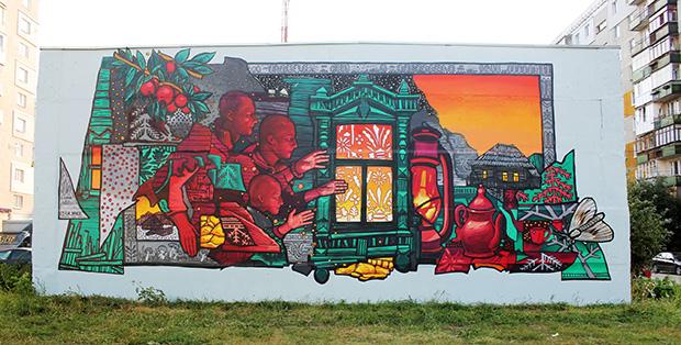 """Работа Ильи Винса """"Святки"""" на фестивале уличного искусства Место-2020"""