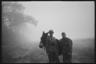 Немецкие военные вместе с мулом в утреннем тумане. Франция, 1940 год.