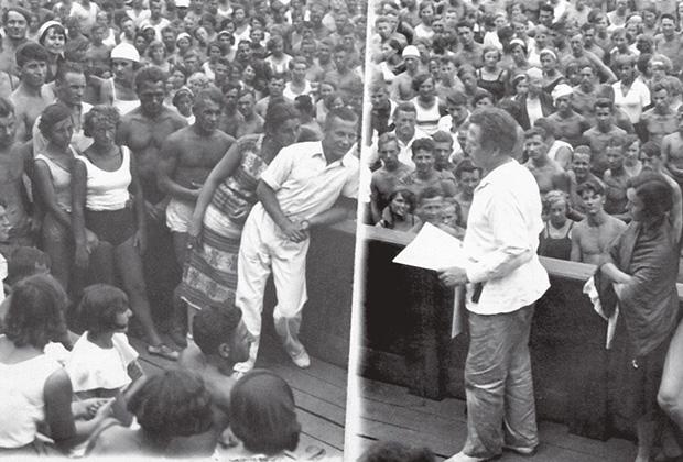 Студенты Государственного института физического воспитания и спорта имени П.Ф. Лесгафта в Ленинграде обсуждают проект конституции. 1936 год