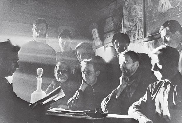 Собрание правления колхоза «Новая жизнь». Московская область. 1930-е годы