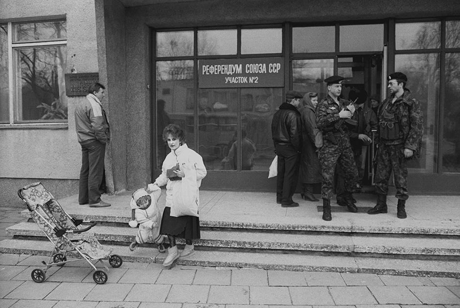 Участок для голосования в литовском городе Новый Вильно в день проведения всесоюзного референдума, 17 марта 1991 года