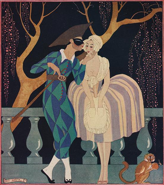 Арлекин в комбинезоне. С картины La Finette художника Жоржа Барбье, 1927 год